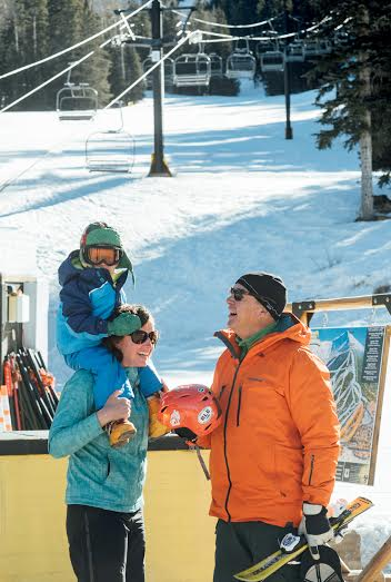Lisa Lamberson and her dad, Mark, are teaching Lisa's son, Jack, how to ski at Arizona Snowbowl – a tradition for the Mountain Sports Flagstaff family. Courtesy photo Cameron Clark Photography.