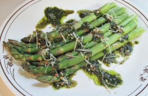 Asparagus with zesty balsamic pesto vinaigrette
