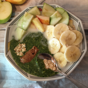 Spinach and Oats Green Smoothie Bowl by Carolyn Flower