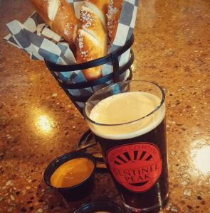 Beer and pretzel sticks from Sentinel Brewing Company.