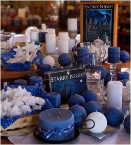 Snowy Night candle display in Prescott store