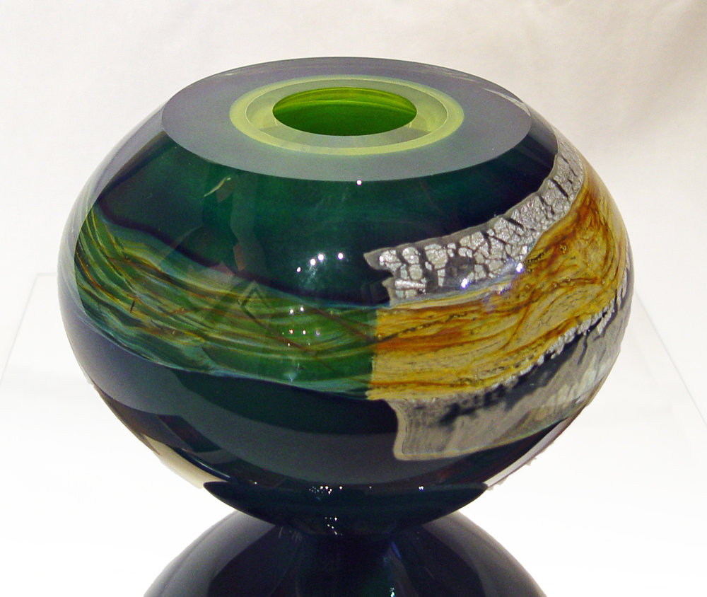 """Mykannos"" by Randi Solin, hand-blown studio glass, 7""h x 8""w x 8""d. At Lanning Gallery in Sedona, AZ."