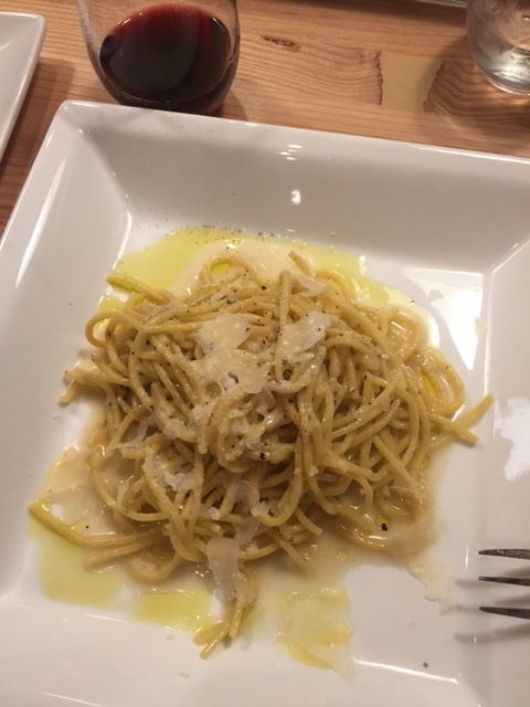 Cacio E Pepe ; spaghetti with a traditional cracked black pepper and parmigiano and pecorino blend