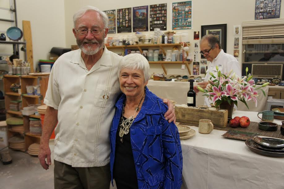 Mayor of Sedona, Sandy Moriarty, with Sedona Open Studios' Co-chair Mike Upp.