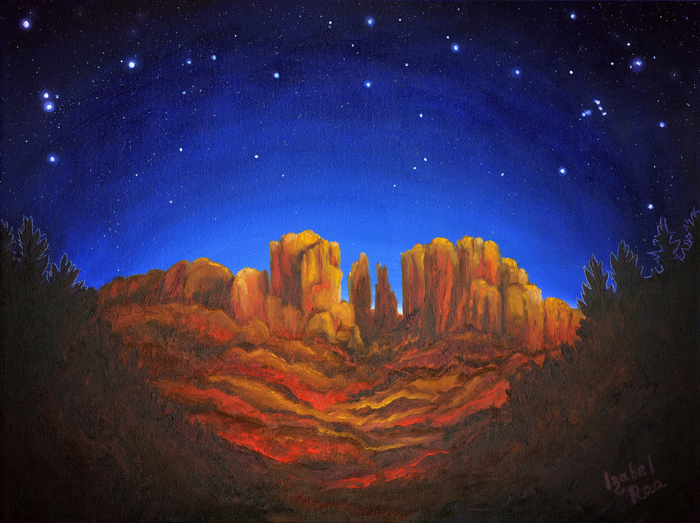 """Cathedral's Magic,"" by Izabel Raa, a Russian-born American artist featured this month at Yester Day's Fine Art Gallery in Jerome. Her oil paintings and giclees of starlit, southwest-inspired landscapes are certain to heal all hearts, at all times."