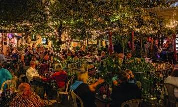 La Cocina courtyard at night