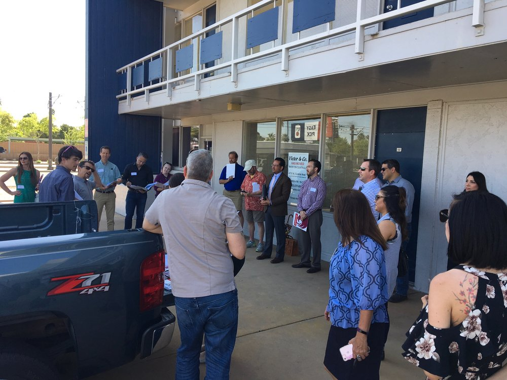 Tour attendees observe and learn about 444 W Camelback.  Photo by Ryan Winkle