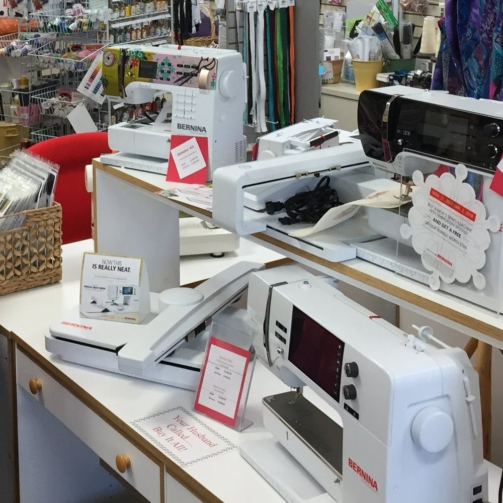 Machines Quilter's Quarters is the only authorized sales and service dealer for BERNINA sewing machines in the Verde Valley. They carry a full line of BERNINA sewing machines and sewing systems for immediate delivery. They offer repair service on all types of sewing machines and sergers right inside their 3,900 square foot location at 51 Verde Heights Drive in Cottonwood.