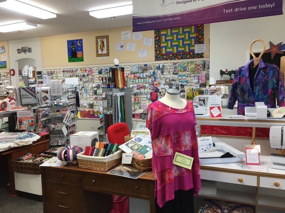 Notions & Tools Quilter's Quarters has a wide selection of notions including machine equipment and supplies, needles, thread, patterns, charms and rolls, fabric embellishments, cutting tools, panels, ribbon, buttons, quilt kits and fat quarters among a huge variety of other needs and supplies. You can find all of your needs in one well laid out location.