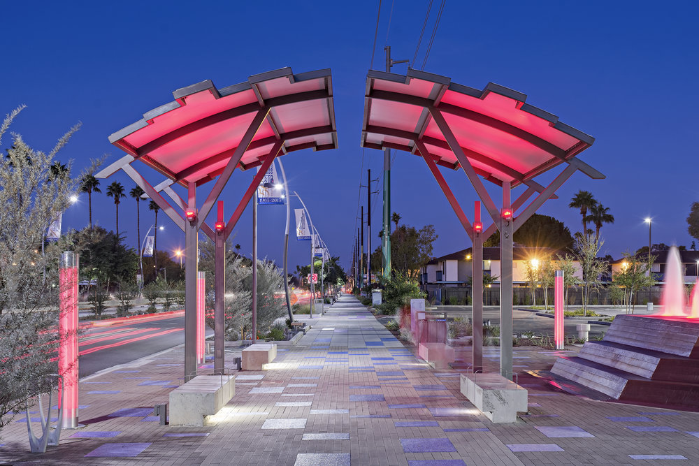 International Tension Structures' shade structures in Mesa's Fiesta District