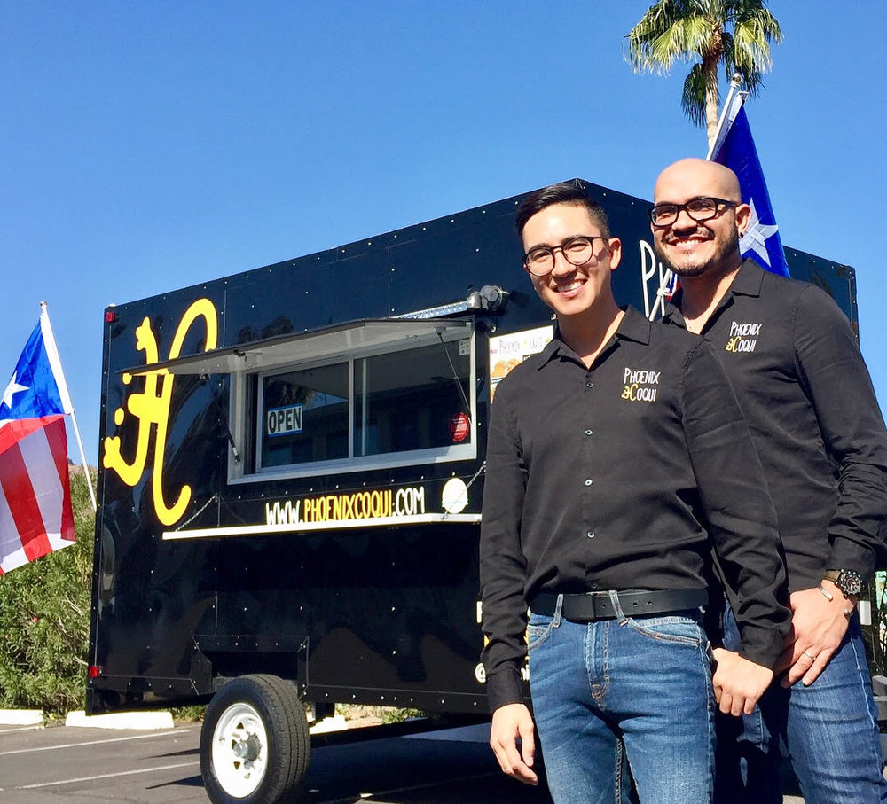 Photo of founders Alexis Carbajal (left) and Juan Alberto Ayala (right) with their signature Puerto Rican Food Truck taken by  DigitalWire360.