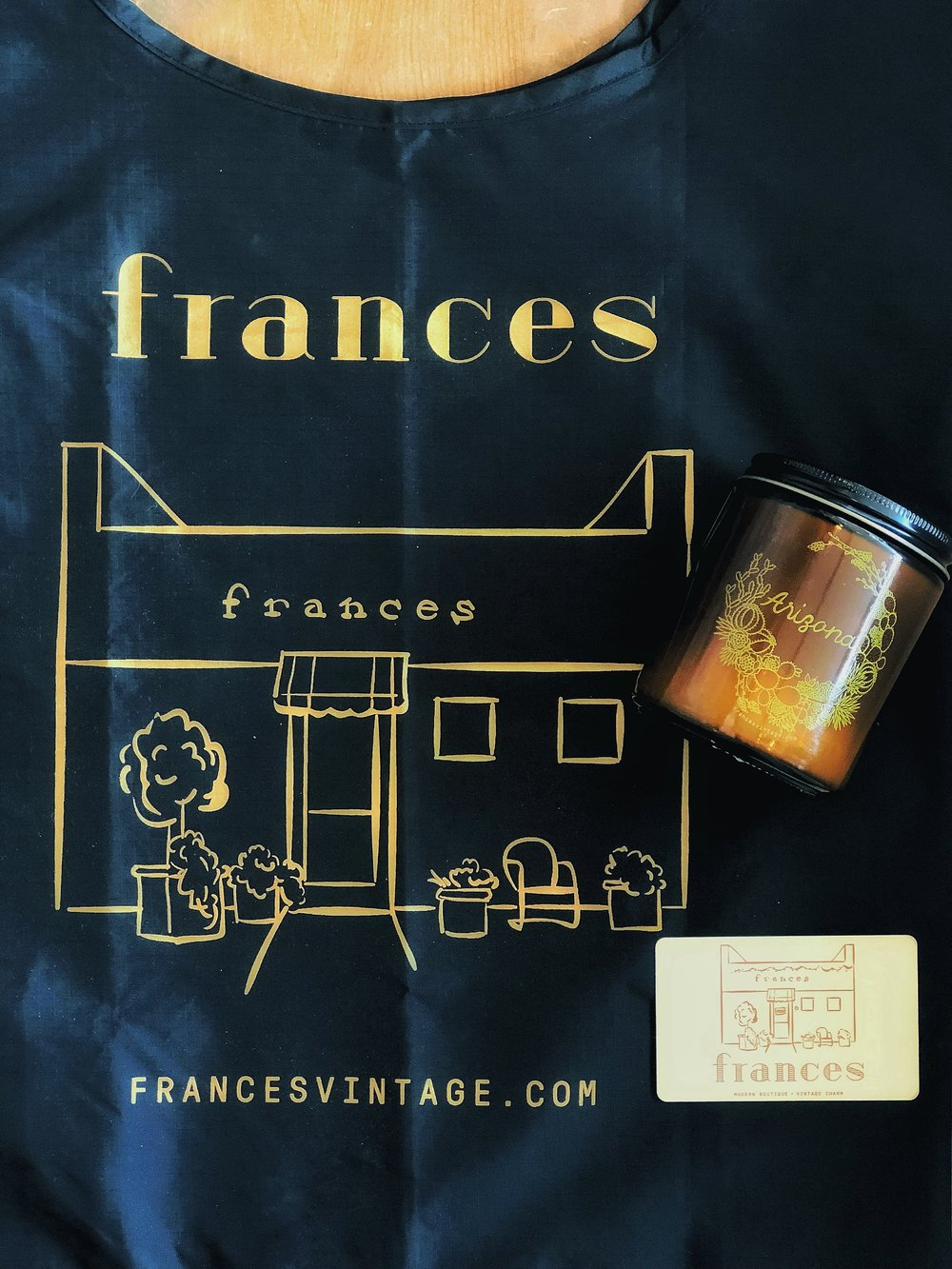 Photo Curtesy of Frances Vintage. Frances will be giving away a tote, candle and $50 gift card. Enter for your chance to win!