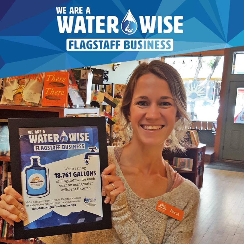 An awesome local Water Wise Business:  Bright Side Bookshop  Thanks to Becca and her employees for saving more than 18,761 gallons of water annually!