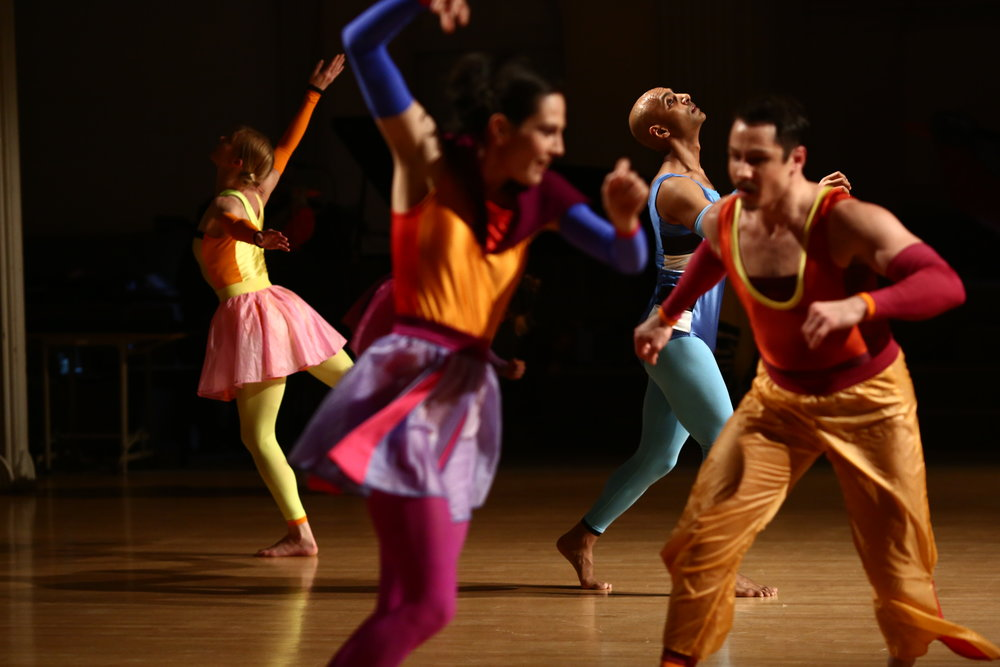 Dancers Left to Right: Emily Pope, Alexandra Berger, Paul Singh, Jake Szczypek, Photo © Paula Court, 2017