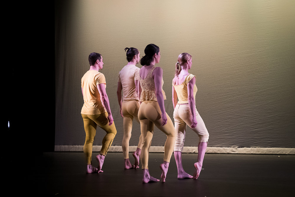 Dancers Left to Right: Jake Szczypek, Timothy Ward, Alexandra Berger, Emily Pope. Photo by Christopher Duggan, 2018