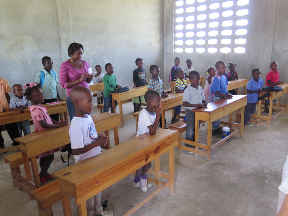 Students in their new classroom