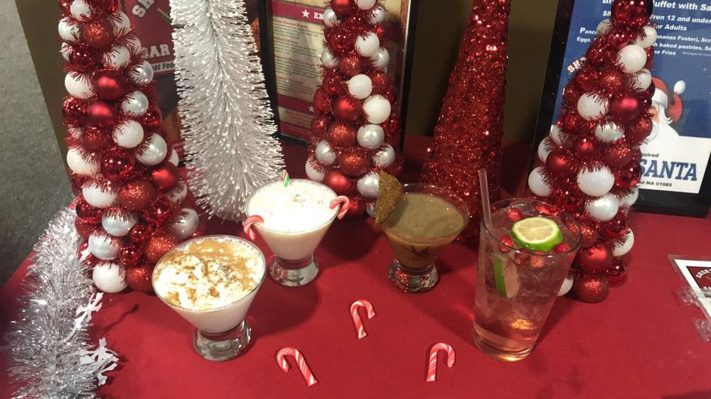 Eggnog Martini, Peppermint Snowflake, Gingerbread Martini and Holiday Gin and Tonic