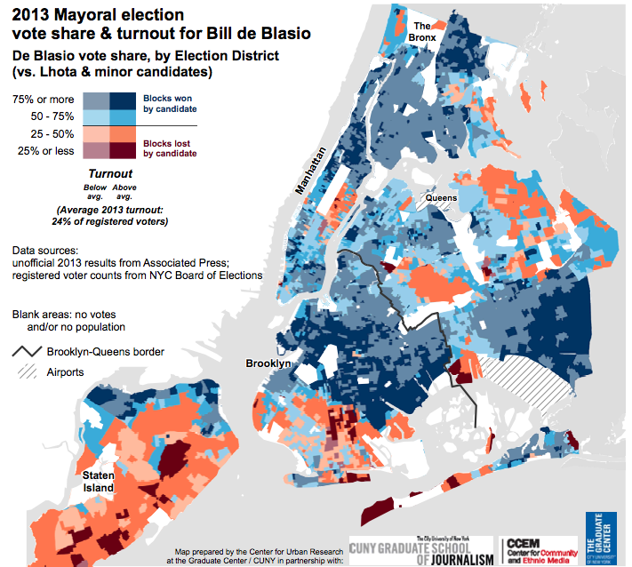 2013 Mayoral election vote share & turnout for Bill de Blasio