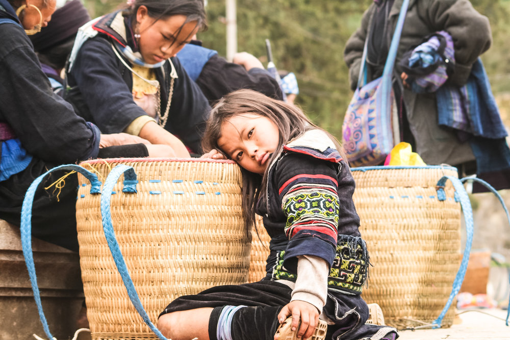 A little girl from the Hmong tribe, in the Sapa mountains, Vietnam