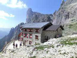 Refugio mountain hut in Italian Dolomites