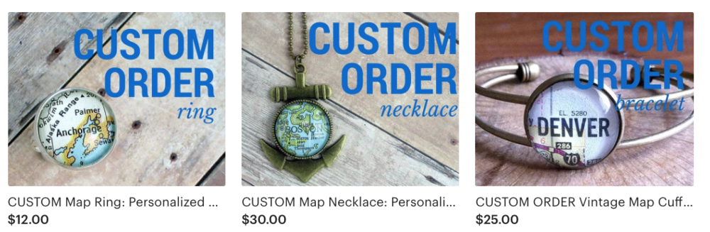 The Navigator Handmade created a separate listing for each different jewelry piece and then it's customizable from there.