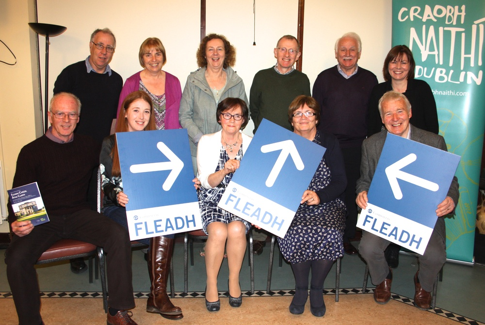 The hard Working Fleadh Committee! Back Row L - R  Des Treacy, Anne Morrison (fleadh secretary) Thérese Lyne, Mick Glynn, Tom Chambers, Kathleen Duffy Front L-R Derek Johnston, Aisling McBride (Fleadh Treasurer), Mary Whelan (Dublin Co. Board) Seán Byrne (Chairman Fleadh Committee)  Signs and Program Cover design were by Martin Gaffney