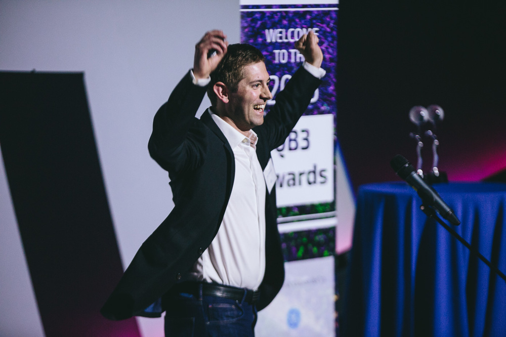 Dan Widmaier, CEO and co-founder of Bolt Threads, celebrates his company's award for Synthetic Biology Startup of the Year