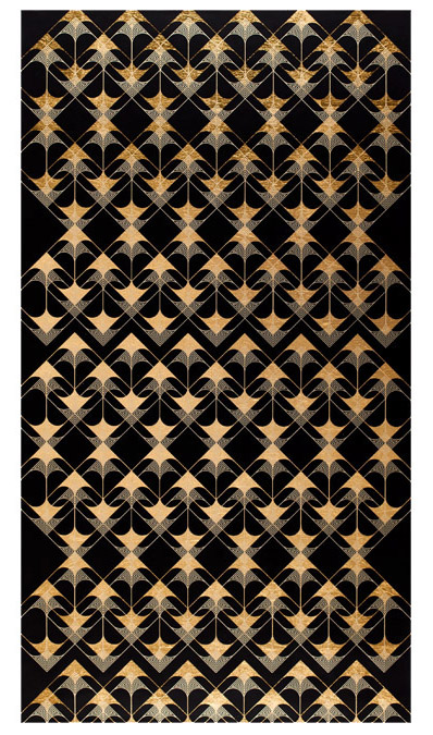 "Crossing Arrows (Black), 2016 Screen print. Limited edition 50. Ink, gold leaf paper. 31"" x 49.25"". Inquire"