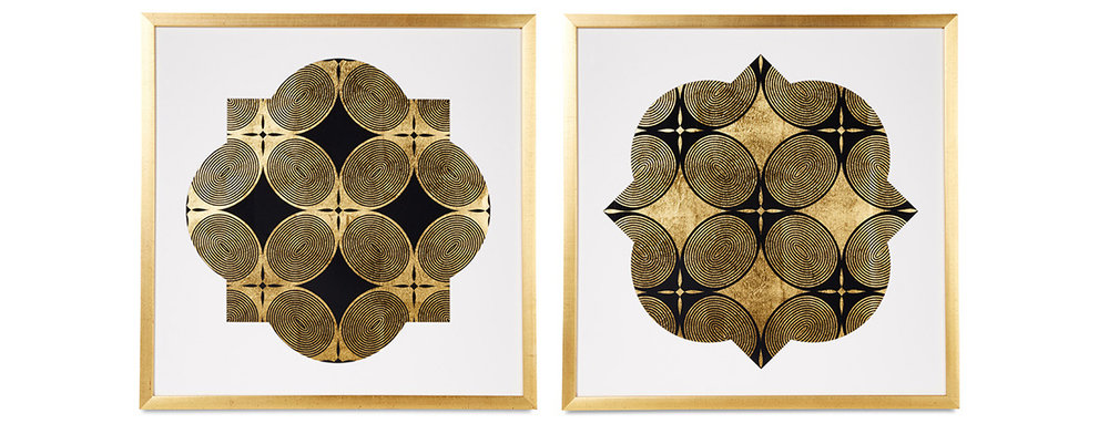 "Royal Palm Window II, III, 2016 Screen print. Limited edition 50. Custom cut mat, ink, gold leaf paper. 27.5"" x 27.5"". Inquire for pricing"