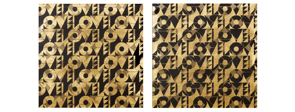 "Love & Arrows I, II, 2016 Screen print. Limited edition 50. Ink, gold leaf paper. 33.25"" x 33.25"". Purchase"
