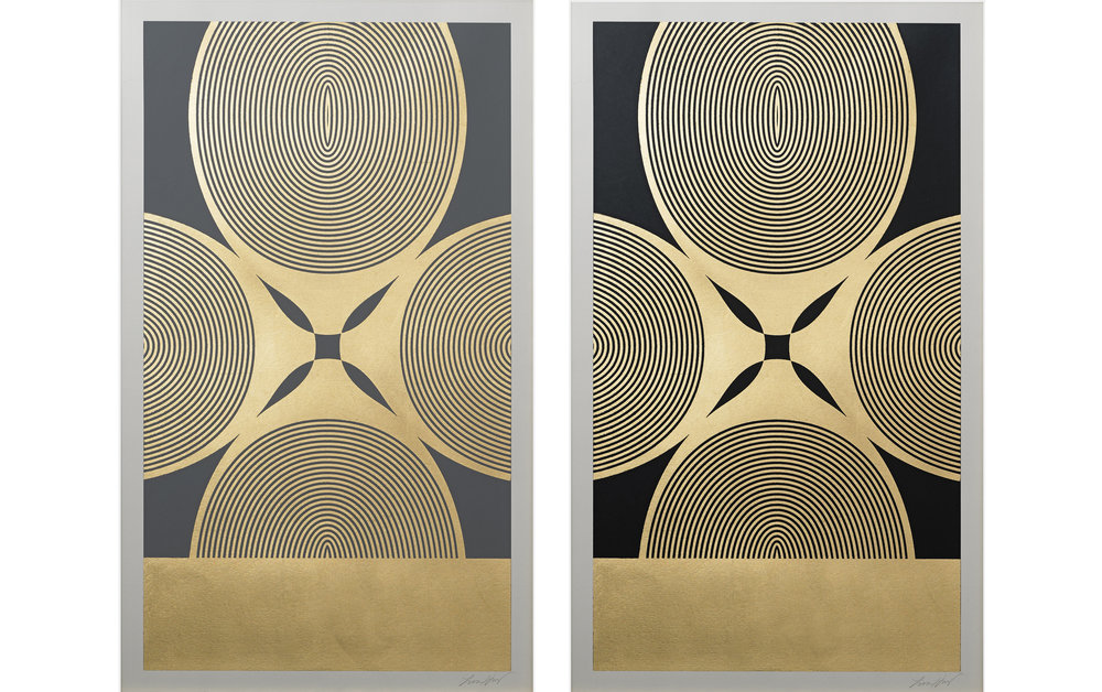 "Royal Palm (Grey, Black)  , 2015.   Screen print. Ink, gold leaf. 15"" x 25"".  Inquire"