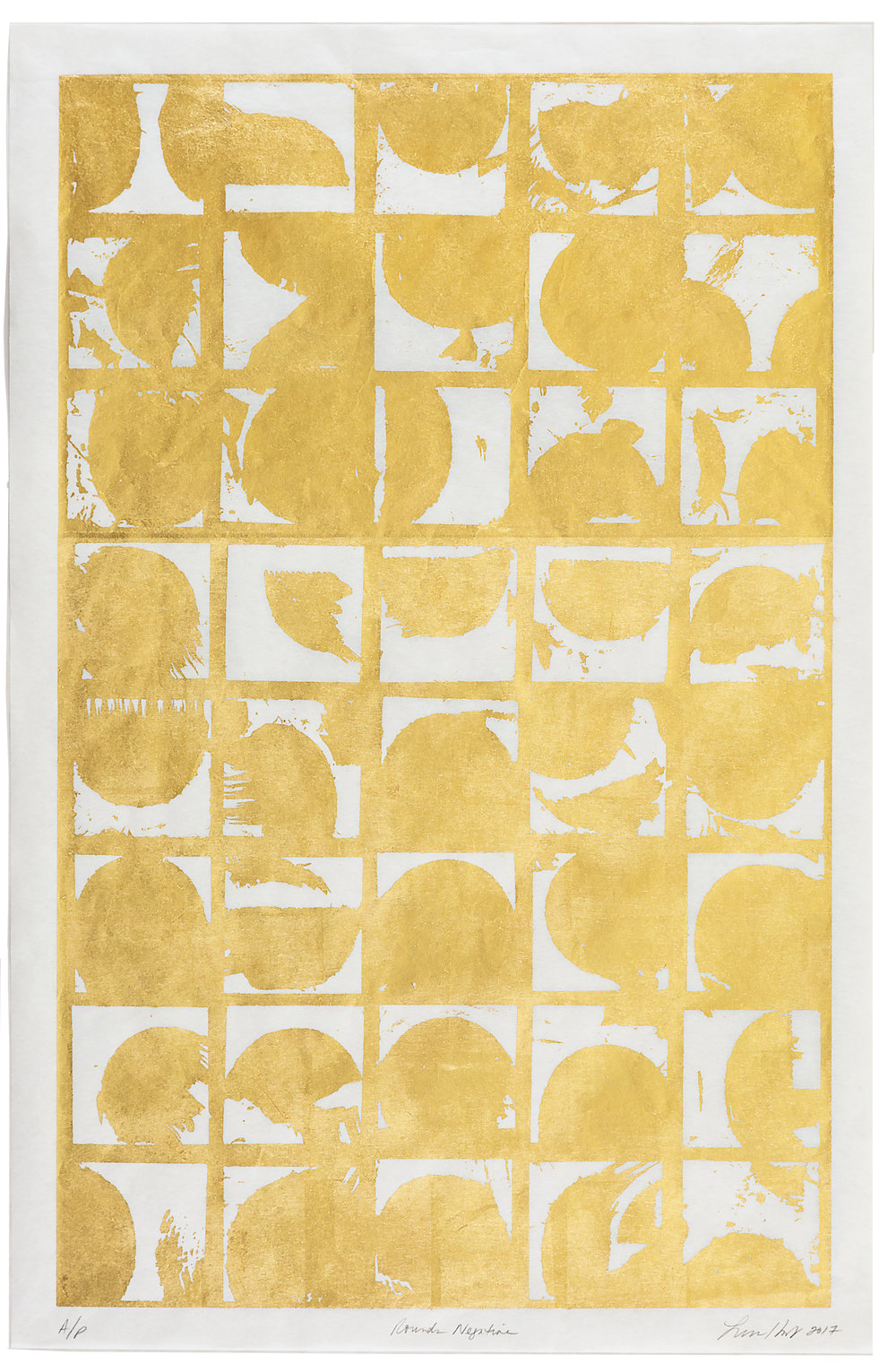 "Rounds Negative,   2017 Screen print. Limited edition 10. 24K gold leaf, Misu Rice Paper. 22"" x 32""  Inquire"