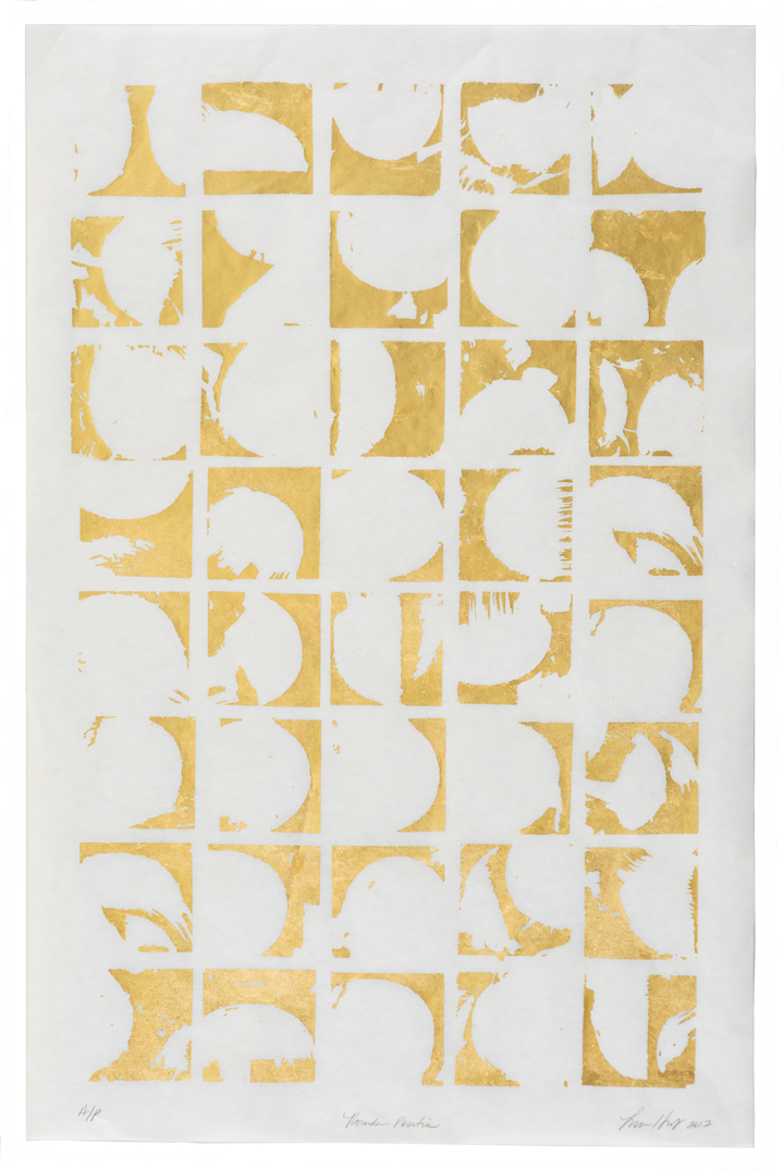"Rounds Negative,   2017 Screen print. A/P. 24K gold leaf, Misu Rice Paper. 22"" x 32""  Inquire"