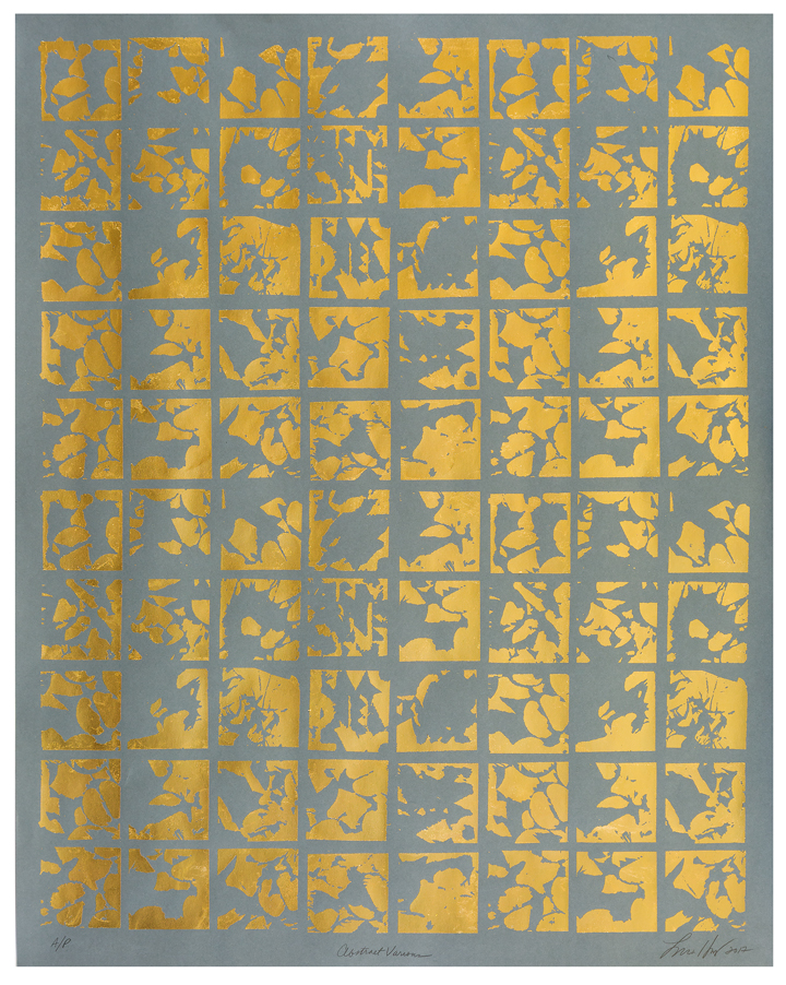"Abstract Various   Screen print. Unique A/P. 24K gold leaf on paper. 30.825"" x 38.875"". Inquire"