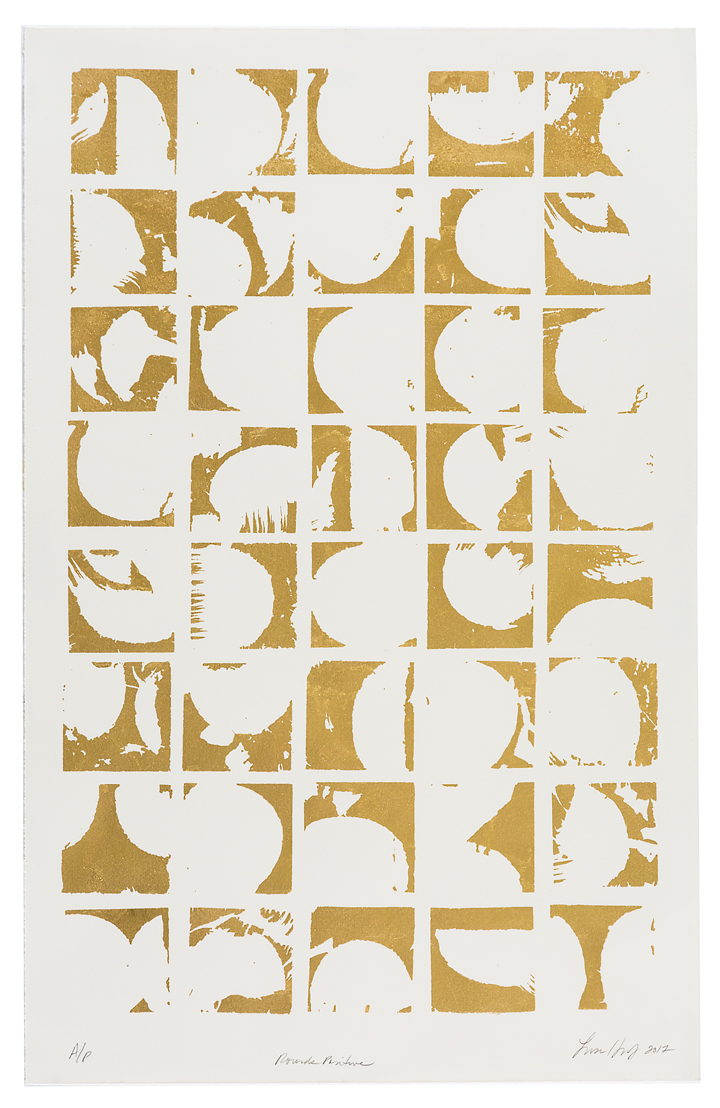 "Rounds Positive,   2017 Screen print. Limited edition 10. 24K gold leaf, paper. 22"" x 32""  Inquire"