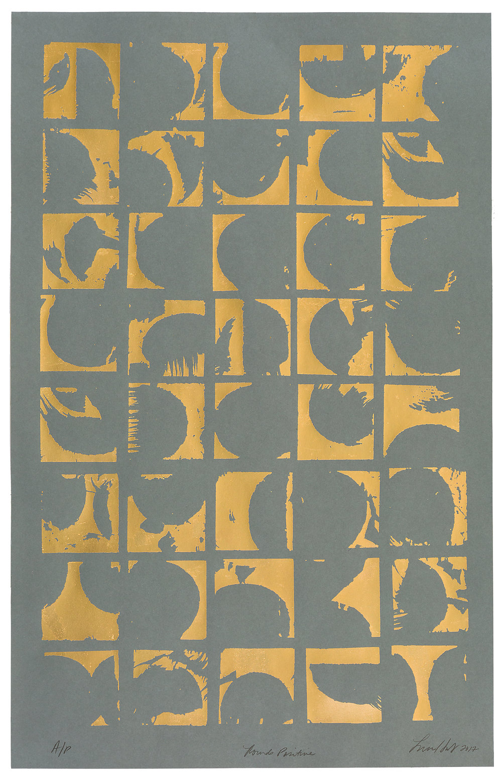 "Rounds Negative,   2017 Screen print. A/P. 24K gold leaf, paper. 22"" x 32""  Inquire"