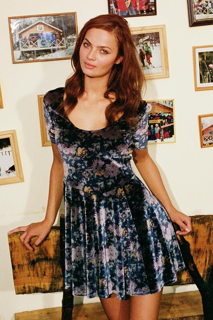 Blue Velveteen Dress