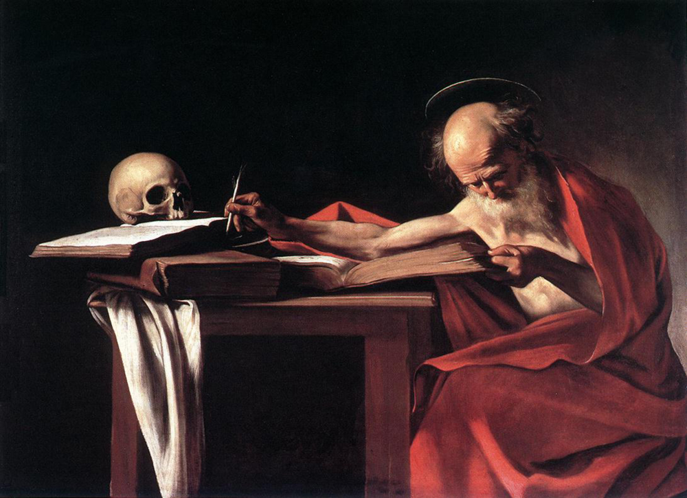 Michelangelo Caravaggio; Saint Jerome Writing 1607