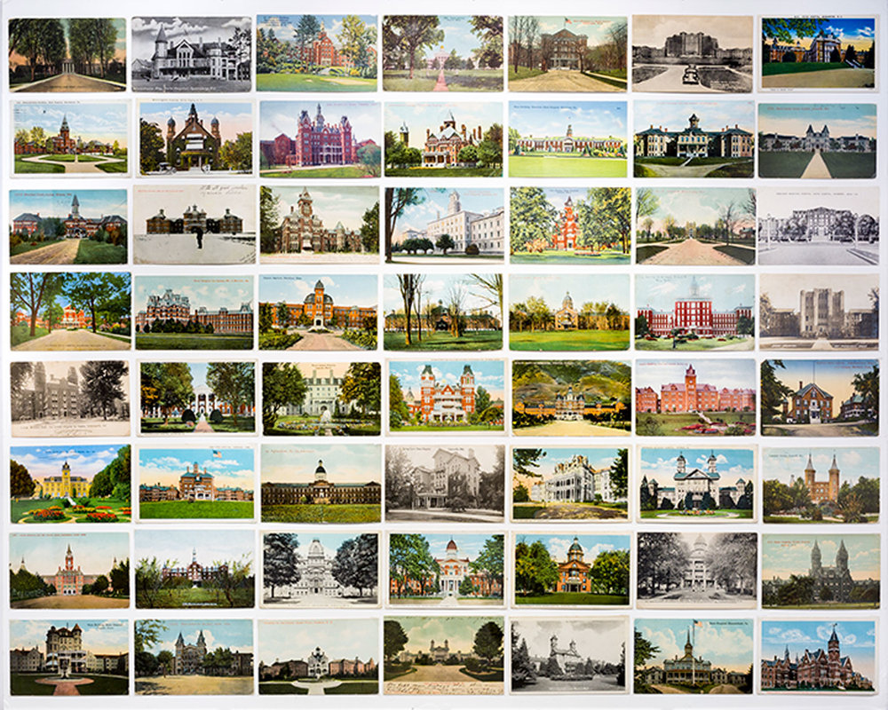 Vintage postcards,  Asylum , Benrubi Gallery, New York, NY, 2016