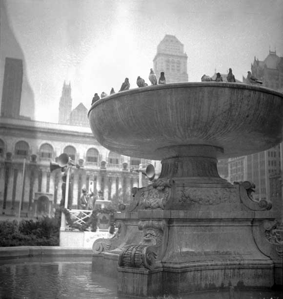 The Lowell fountain, the day of Bryant Park's re-opening after the Moses renovation, September 14, 1934. Photo: New York City Parks Photo Archive