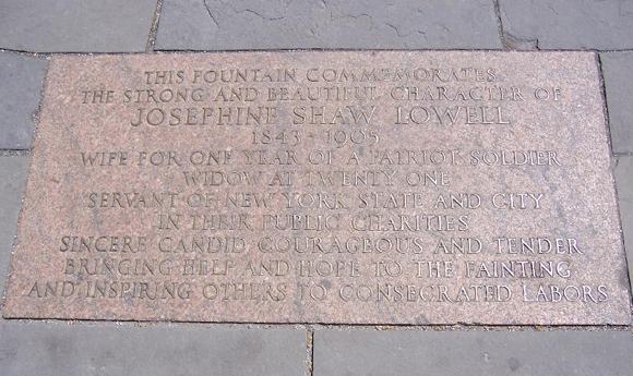 Commemorative plaque at the base of the Josephine Shaw Lowell Memorial Fountain