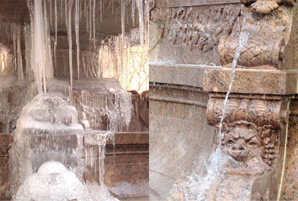 Left: Josephine Shaw Lowell Memorial Fountain in winter; Right: Detail of the Josephine Shaw Lowell Fountain (Bryant Park, Manhattan) photo by Tracy Huling (November, 2011)