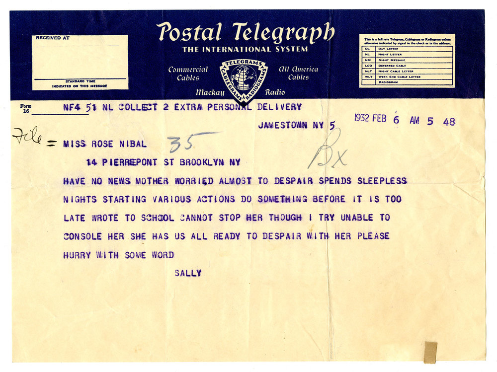 Postal telegraph from the New York State Training School for Girls, Hudson, NY (1932)