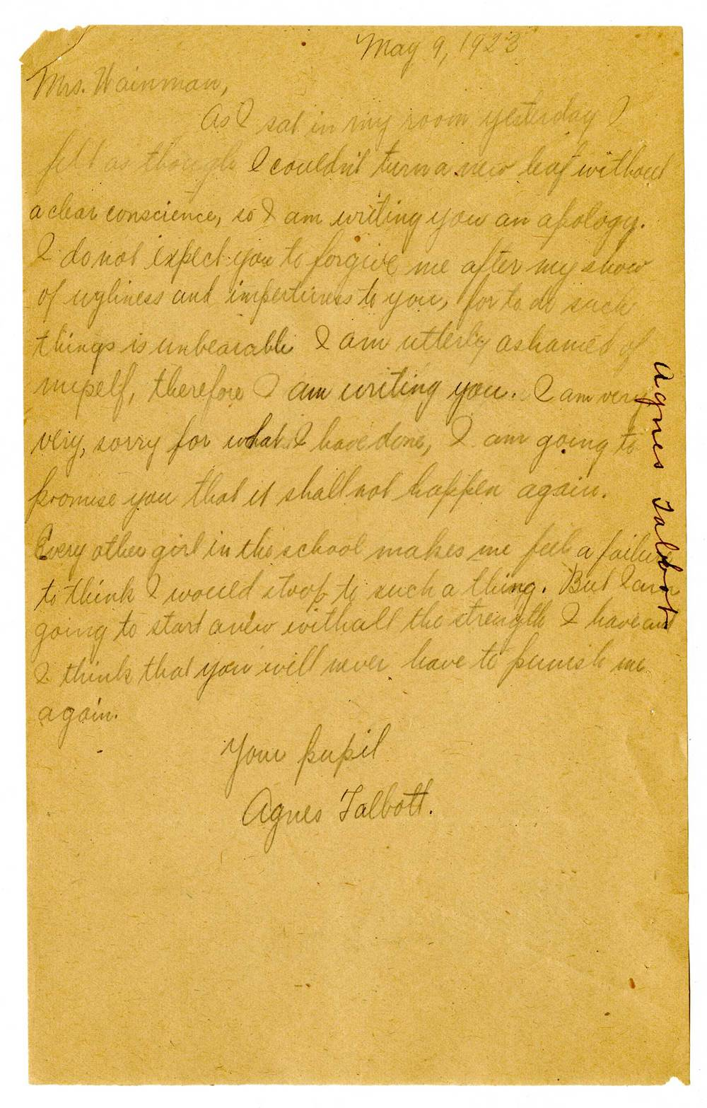 Correspondence from Agnes Talbott, NY State Training School for Girls, Hudson, NY (May 9, 1923)