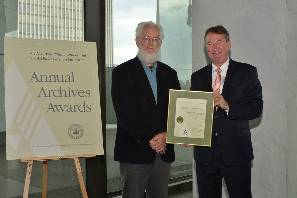 Russ Immarigeon receives Award for Research Excellence from New York State Archives