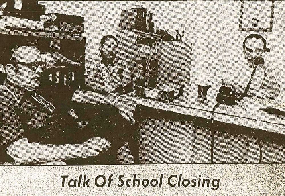 The Training School's final superintendent, George Dolecal (right), fields questions from reporters about the School's possible closure. Source: Hudson Register-Star, August 11, 1975.