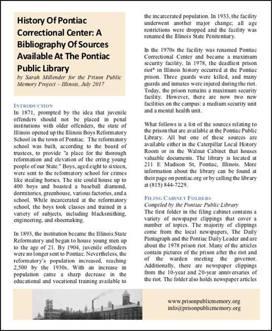 Pontiac Correctional Facility Historical Bibliography