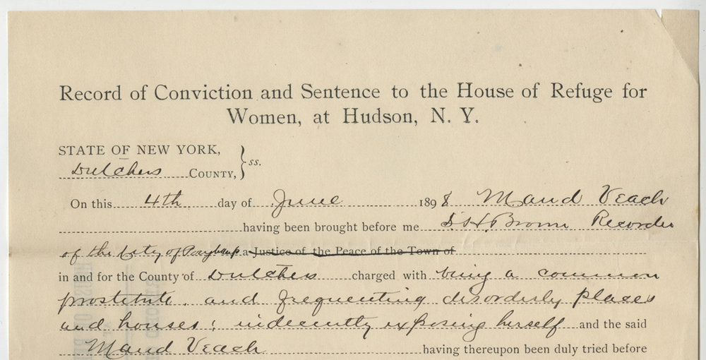 Record of Conviction, Maud Veach, House of Refuge for Women, Prison Public Memory Project
