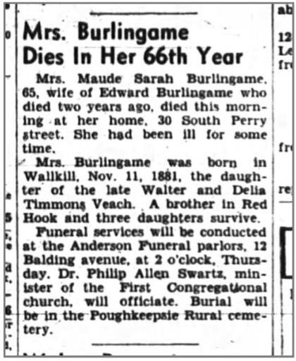 Maude Sarah Burlingame death notice