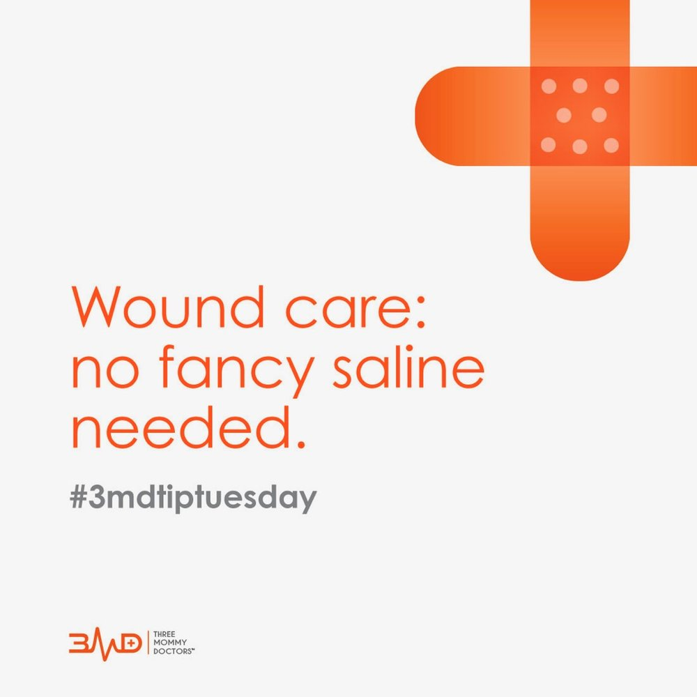 Did you know washing wounds with clean tap water is just as effective as rinsing with fancy saline or sterile water? #3MD #wound #kidSTAT